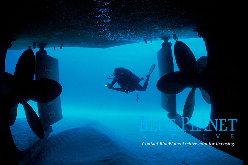 scuba diver explores wreck of Caribbean Breeze, stern at a depth of 40 feet, bow at a depth of 70 feet, New Providence, Bahamas , Atlantic Ocean