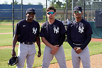 FCL Yankees Josue Panacual, DJose Colmenares, and Yoljeldriz Diaz before a game against the FCL Tigers West on July 31, 2021 at Tigertown in Lakeland, Florida.  (Mike Janes/Four Seam Images)