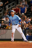 Omaha Storm Chasers first baseman Nick Pratto (32) during a game against the Iowa Cubs on August 14, 2021 at Werner Park in Omaha, Nebraska. Omaha defeated Iowa 6-2. (Zachary Lucy/Four Seam Images)