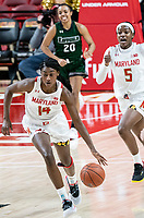 COLLEGE PARK, MD - DECEMBER 8: Diamond Miller #14 of Maryland dribbles upcourt during a game between Loyola University and University of Maryland at Xfinity Center on December 8, 2019 in College Park, Maryland.