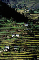 Terraced hillside with Nepali houses - SOLU REGION of NEPAL