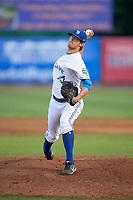 Bluefield Blue Jays relief pitcher Troy Watson (14) delivers a pitch during a game against the Bristol Pirates on July 26, 2018 at Bowen Field in Bluefield, Virginia.  Bristol defeated Bluefield 7-6.  (Mike Janes/Four Seam Images)