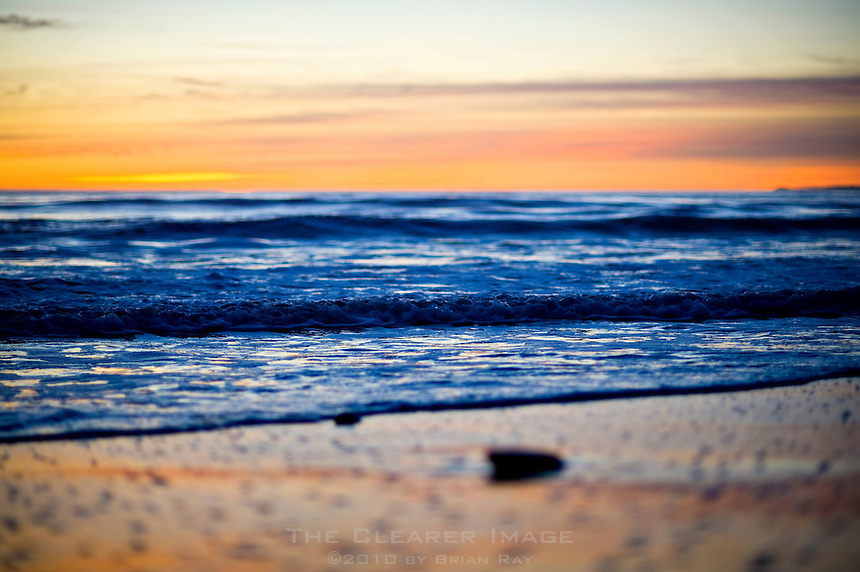 Twilight on the beach in Pacific Palisades, CA.