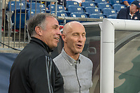 FOXBOROUGH, MA - AUGUST 3: Bruce Arena of New England Revolution and Bob Bradley of Los Angeles FC before the game during a game between Los Angeles FC and New England Revolution at Gillette Stadium on August 3, 2019 in Foxborough, Massachusetts.