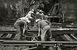 1973 Railroad workers, Conrail. Lewisburg, PA. Gandy Dancers..File #73-134-C14a