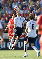 Carlos Bocanegra goes up for a header. The USA defeated China, 4-1, in an international friendly at Spartan Stadium, San Jose, CA on June 2, 2007.