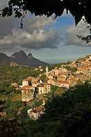 Corsica. France. Village of Evisa and the Golfe de Porto. Corse.