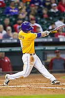 LSU Tigers shortstop Alex Bregman (8) swings the bat during the Houston College Classic against the Nebraska Cornhuskers on March 8, 2015 at Minute Maid Park in Houston, Texas. LSU defeated Nebraska 4-2. (Andrew Woolley/Four Seam Images)