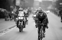 Ian Stannard (GBR) & (an invisible) Greg Van Avermaet (BEL) detatched themselves from the lead group and now have to hold them off with about 10km to go<br /> <br /> Omloop Het Nieuwsblad 2014