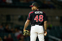 Rochester Red Wings pitcher Diego Moreno (48) during a game against the Worcester Red Sox on September 4, 2021 at Frontier Field in Rochester, New York.  (Mike Janes/Four Seam Images)