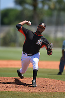 Miami Marlins pitcher Jose Arias (75) during a minor league spring training game against the St. Louis Cardinals on March 31, 2015 at the Roger Dean Complex in Jupiter, Florida.  (Mike Janes/Four Seam Images)