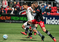 WASHINGTON, DC - FEBRUARY 29: Frédéric Brillant #13 of DC United defends against Andre Shinyashiki #99 of the Colorado Rapids during a game between Colorado Rapids and D.C. United at Audi Field on February 29, 2020 in Washington, DC.
