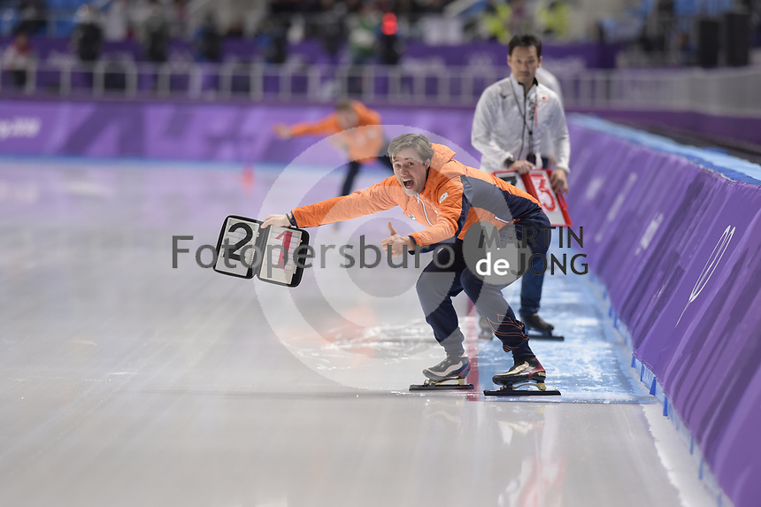 OLYMPIC GAMES: PYEONGCHANG: 16-02-2018, Gangneung Oval, Long Track, 5.000m Ladies, Simon Kuipers (coach NED), ©photo Martin de Jong