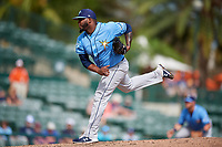 Tampa Bay Rays relief pitcher Luis Santos (75) delivers a pitch during a Grapefruit League Spring Training game against the Baltimore Orioles on March 1, 2019 at Ed Smith Stadium in Sarasota, Florida.  Rays defeated the Orioles 10-5.  (Mike Janes/Four Seam Images)