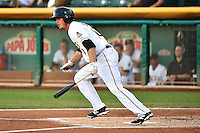 Grant Green (10) of the Salt Lake Bees at bat against the New Orleans Zephyrs in Pacific Coast League action at Smith's Ballpark on August 27, 2014 in Salt Lake City, Utah.  (Stephen Smith/Four Seam Images)