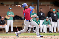 Presbyterian College Blue Hose left fielder Zacchaeus Rasberry bats in a game against the University of South Carolina Upstate Spartans on Tuesday, March 23, 2021, at Cleveland S. Harley Park in Spartanburg, South Carolina. (Tom Priddy/Four Seam Images)