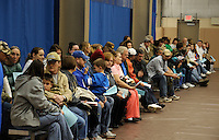 People wait to be seen by opticians at the Remote Area Medical (RAM) clinic. Over the weekend at Soft Shell, Knott County, in the Appalachian mountains of eastern Kentucky, the congressional district with the nation's lowest life expectancy, RAM volunteers saw 822 needy people. 95 percent of people seen were provided with dental or optical care. RAM was founded in 1985 to provide free health, dental and eye care in the developing world. However, RAM now provides 60 percent of its services in the US, providing for the estimated 47 million Americans without health insurance..