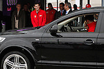 Real Madrid player Iker Casillas participates and receives new Audi during the presentation of Real Madrid's new cars made by Audi at the Jarama racetrack on November 8, 2012 in Madrid, Spain.(ALTERPHOTOS/Harry S. Stamper)