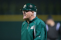 Charlotte 49ers head coach Loren Hibbs (49) argues a call during the game against the North Carolina State Wolfpack at BB&T Ballpark on March 31, 2015 in Charlotte, North Carolina.  The Wolfpack defeated the 49ers 10-6.  (Brian Westerholt/Four Seam Images)