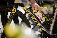 bidons placed on the bikes by the soigneurs pre-race<br /> <br /> Stage 7: Nice to Col de Turini (181km)<br /> 77th Paris - Nice 2019 (2.UWT)<br /> <br /> ©kramon