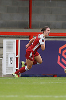 Lotte Wubben-Moy of Arsenal scores goal number 4 for her team and celebrates during Brighton & Hove Albion Women vs Arsenal Women, Barclays FA Women's Super League Football at Broadfield Stadium on 11th October 2020