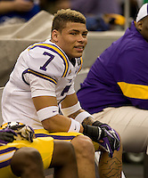 LSU defensive end Tyrann Mathieu is pictured before BCS National Championship game against Alabama at Mercedes-Benz Superdome in New Orleans, Louisiana on January 9th, 2012.   Alabama defeated LSU, 21-0.
