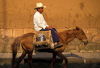 AJ1875, Mexico, horse, Patzcuaro, Mexican man riding a horse carrying goods through the streets of Patzcuaro in the state of Michoacan.
