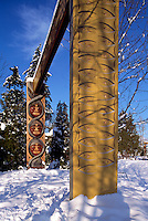 Carved Coast Salish Totem Gateway at Brockton Point in Stanley Park, Vancouver, BC, British Columbia, Canada, Winter