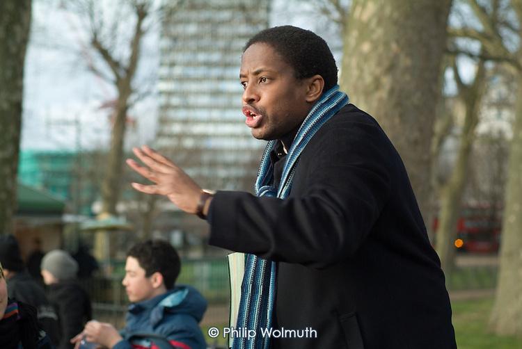 A Christian preacher at Speakers' Corner in Hyde Park, London.