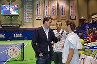 December 20, 2014, Rotterdam, Topsport Centrum, Lotto NK Tennis, Men's doubles final, winners Wesley Koolhof (R) and his partner Thiemo de Bakker being interviewed bij Alex Nelissen<br /> Photo: Tennisimages/Henk Koster