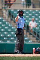 Home plate umpire Reid Gibbs calls a strike during a game between the Lehigh Valley IronPigs and the Rochester Red Wings on July 1, 2018 at Frontier Field in Rochester, New York.  Rochester defeated Lehigh Valley 7-6.  (Mike Janes/Four Seam Images)