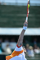 MELBOURNE, AUSTRALIA - JANUARY 10: SIMONE BOLLELLI (ITA) in action against PAUL-HENRI MATHIEU (FRA) on day 2 of the 2013 AAMI Classic event at the Kooyong Lawn Tennis Club in Melbourne, Australia.