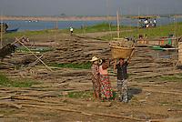 Bamboo weaving at the Ayeyarwaddy River side and Jetty Mandalay, Myanmar