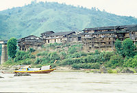 A sanpan on the one of the waterways in rural China