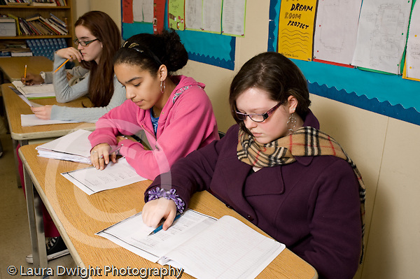 Public Middle School Grade 8 female students in class horizontal