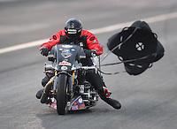 Feb 11, 2017; Pomona, CA, USA; NHRA top fuel nitro Harley rider Tii Tharpe during qualifying for the Winternationals at Auto Club Raceway at Pomona. Mandatory Credit: Mark J. Rebilas-USA TODAY Sports