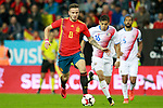 Spain's Saul Niguez (l) and Costa Rica's Cristian Gamboa (c) and Celso Borges during international friendly match. November 11,2017.(ALTERPHOTOS/Acero)