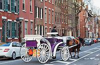 Horse drawn carriage tour of historic Philadelphia, Pennsylvania, USA