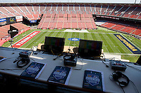 A view of California coaches in the box is pictured before the game between California and Fresno State at Candlestick Park in San Francisco, California on September 3rd, 2011.  California defeated Fresno State, 36-21.