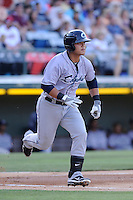 Designated hitter Chun-Hsiu Chen (43) of the Columbus Clippers in a game against the Charlotte Knights on Saturday, June 15, 2013, at Knights Stadium in Fort Mill, South Carolina. Columbus won, 4-2. (Tom Priddy/Four Seam Images)