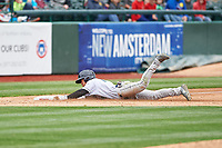 Cedar Rapids Kernels Gabriel Maciel (19) slides into third base for a triple during a Midwest League game against the South Bend Cubs at Four Winds Field on May 8, 2019 in South Bend, Indiana. South Bend defeated Cedar Rapids 2-1. (Zachary Lucy/Four Seam Images)