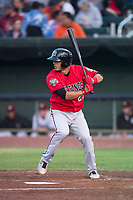 Billings Mustangs shortstop Carlos Rivero (23) at bat during a Pioneer League game against the Idaho Falls Chukars at Melaleuca Field on August 22, 2018 in Idaho Falls, Idaho. The Idaho Falls Chukars defeated the Billings Mustangs by a score of 5-3. (Zachary Lucy/Four Seam Images)