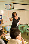 Education Elementary school Grade 4 female teacher with class discussion geography social studies
