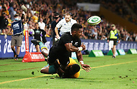 7th November 2020, Brisbane, Australia; Tri Nations International rugby union, Australia versus New Zealand;  Sevu Reece  of The Allblacks tackled along the wing