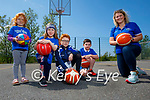 Tralee Imperials coach Sarah Dinan (front right) with her troops as they return to outdoor basketball training at the Blennerville NS court on Saturday.  L to r: Alice, Hannah and Barry O'Sullivan and Rian Tuohy.