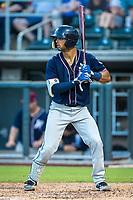 Northwest Arkansas Naturals catcher MJ Melendez (2) at bat against the Wichita Wind Surge at Riverfront Stadium on July 9, 2021 in Wichita, Kansas. (William Purnell/Four Seam Images)