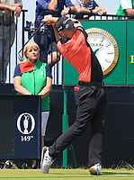 13th July 2021; The Royal St. George's Golf Club, Sandwich, Kent, England; The 149th Open Golf Championship, practice day; Daniel Croft (ENG) plays his tee shot at the par three 3rd hole