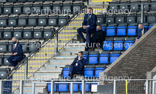 St Johnstone v Celtic…04.10.20   McDiarmid Park  SPFL<br />St Johnstone Chairman Steve Brown pictured in the directors box with his father and club owner Geoff Brown, Director Stan Harris and Associate Director Roddy Grant.<br />Picture by Graeme Hart.<br />Copyright Perthshire Picture Agency<br />Tel: 01738 623350  Mobile: 07990 594431