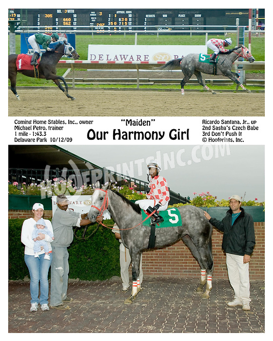 Our Harmony Girl winning at Delaware Park on 10/12/09