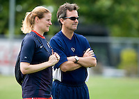 Cindy Parlow, Anson Dorrance. The USWNT practice at WakeMed Soccer Park in preparation for their game with Japan.